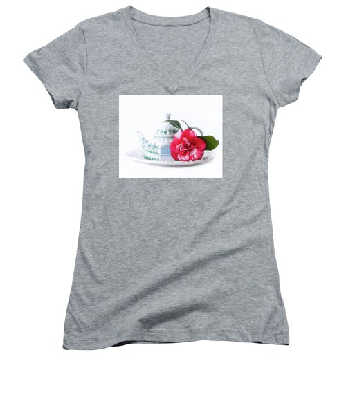 Memories Red Women's V-Neck (Athletic Fit)