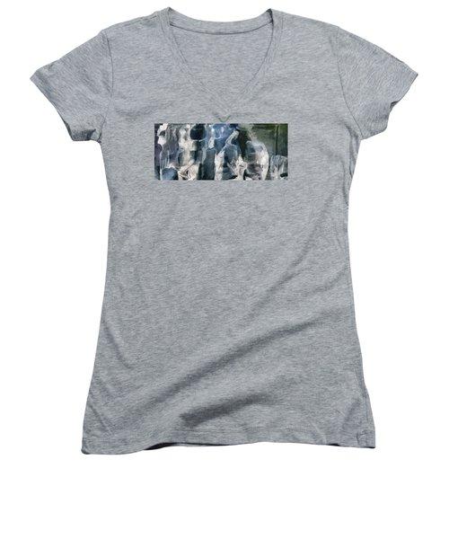 Memory Hotel - Dark Canvas Abstract Art Women's V-Neck T-Shirt (Junior Cut) by Modern Art Prints