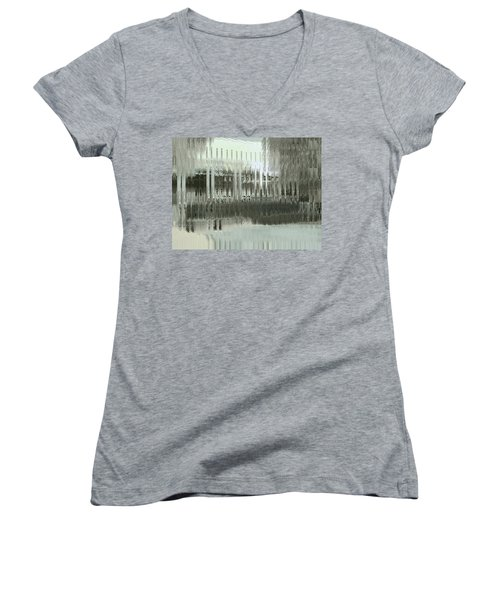 Women's V-Neck T-Shirt featuring the digital art Memory Palace - Fading by Wendy J St Christopher