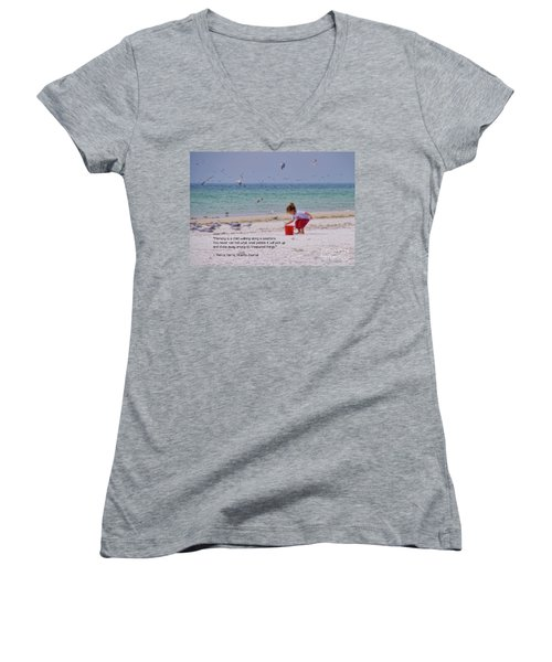 Women's V-Neck T-Shirt featuring the photograph Memory by Peggy Hughes