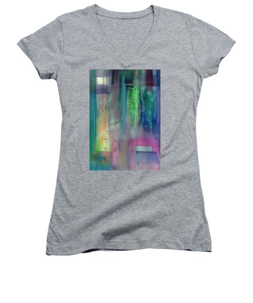 Women's V-Neck featuring the painting Memory Window by Carolyn Utigard Thomas