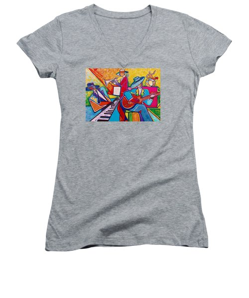 Women's V-Neck T-Shirt (Junior Cut) featuring the painting Memphis Music by Emery Franklin