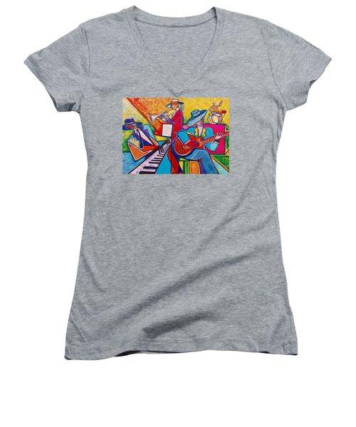 Memphis Music Women's V-Neck T-Shirt (Junior Cut) by Emery Franklin