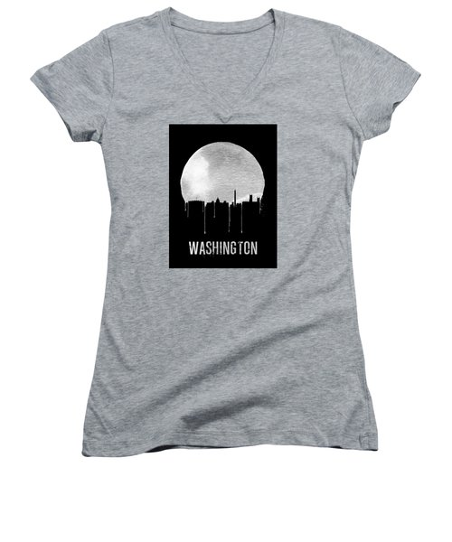 Memphis Skyline Black Women's V-Neck T-Shirt (Junior Cut) by Naxart Studio