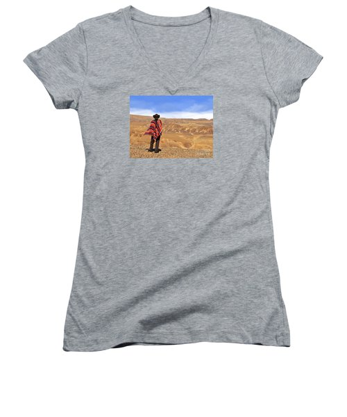 Man In A Poncho In The Desert Women's V-Neck T-Shirt