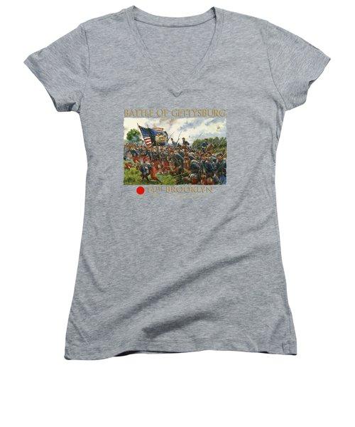 Men Of Brooklyn - The 14th Brooklyn 14th N.y.s.m. Charge On The Railrad Cut - Battle Of Gettysburg Women's V-Neck (Athletic Fit)