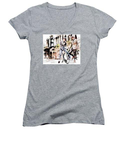 Men On Bikes Women's V-Neck T-Shirt