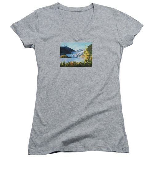 Mendenhall Glacier Juneau Alaska Women's V-Neck (Athletic Fit)