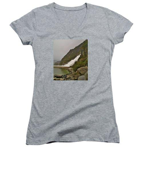 Mendenhall Glacier Park Women's V-Neck T-Shirt (Junior Cut) by Martin Cline