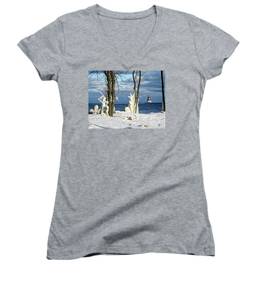 Menominee Lighthouse Ice Sculptures Women's V-Neck (Athletic Fit)