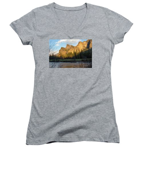 Merced River Yosemite Color Women's V-Neck (Athletic Fit)