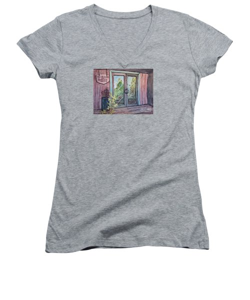 Women's V-Neck T-Shirt (Junior Cut) featuring the painting Mercier Orchards' Cider by Gretchen Allen