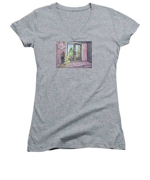 Women's V-Neck T-Shirt (Junior Cut) featuring the painting Mercier Orchard's Hard Cider by Gretchen Allen