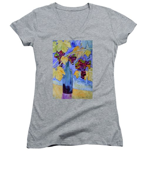 Merlot Women's V-Neck T-Shirt (Junior Cut) by Nancy Jolley