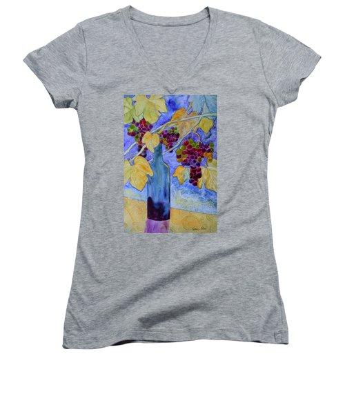 Women's V-Neck T-Shirt (Junior Cut) featuring the painting Merlot by Nancy Jolley