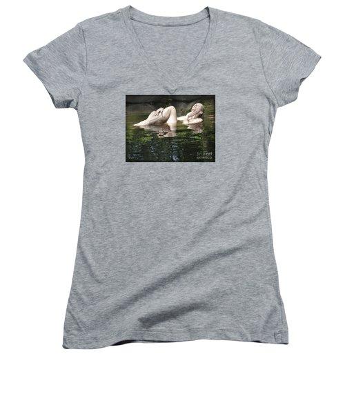 Women's V-Neck T-Shirt (Junior Cut) featuring the photograph Mermaid by Marat Essex