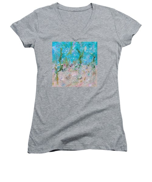 Women's V-Neck T-Shirt featuring the painting Mermaid Meditation by Judith Rhue