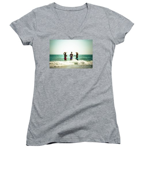 Women's V-Neck T-Shirt (Junior Cut) featuring the photograph Mermaids by Hannes Cmarits