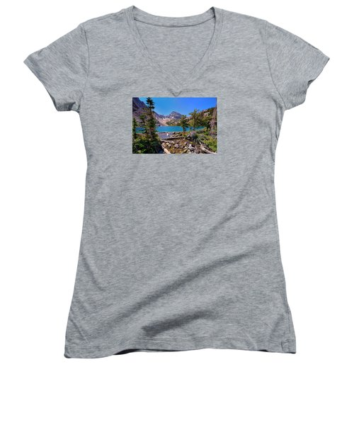 Merriam Lake Women's V-Neck T-Shirt (Junior Cut) by Greg Norrell