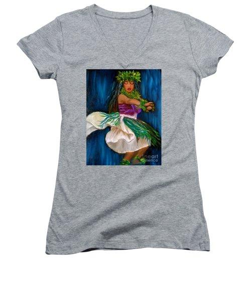 Merrie Monarch Hula Women's V-Neck T-Shirt (Junior Cut) by Jenny Lee