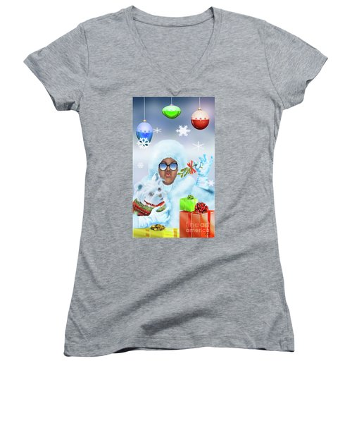 Merry Christmas And Kisses Women's V-Neck (Athletic Fit)