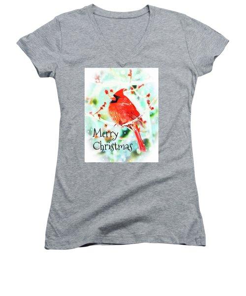 Merry Christmas Cardinal Women's V-Neck T-Shirt