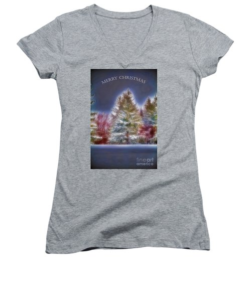Women's V-Neck T-Shirt (Junior Cut) featuring the photograph Merry Christmas by Jim Lepard