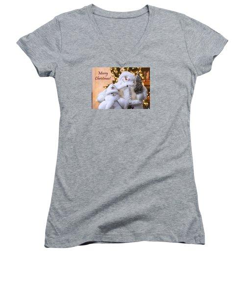 Women's V-Neck T-Shirt (Junior Cut) featuring the photograph Merry Christmas Snowmen by Betty Denise