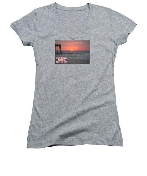 Merry Christmas Sunrise  Women's V-Neck T-Shirt (Junior Cut) by Robert Banach