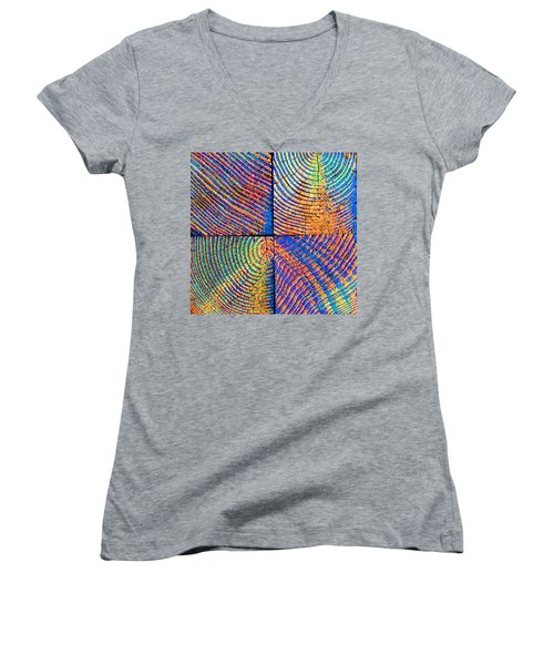 Women's V-Neck T-Shirt (Junior Cut) featuring the photograph  Rainbow Powerwood by John King