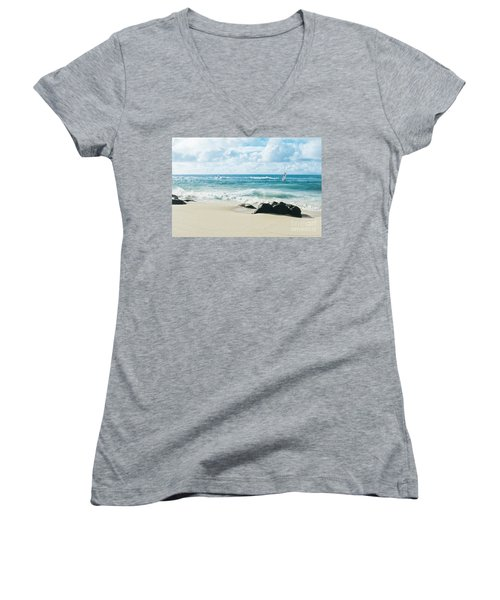 Women's V-Neck T-Shirt featuring the photograph Messengers Of Light by Sharon Mau