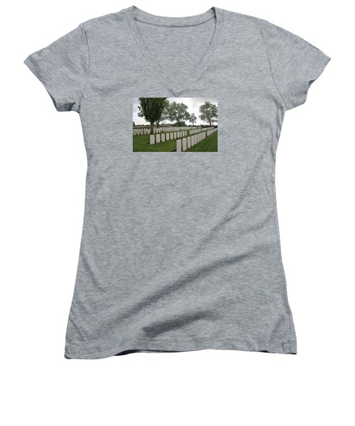 Women's V-Neck T-Shirt (Junior Cut) featuring the photograph Messines Ridge British Cemetery by Travel Pics