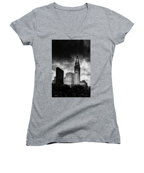 Women's V-Neck T-Shirt (Junior Cut) featuring the photograph Met-life Tower by Marvin Spates