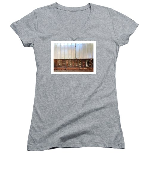 Metal And Ironwork With White Border Women's V-Neck T-Shirt