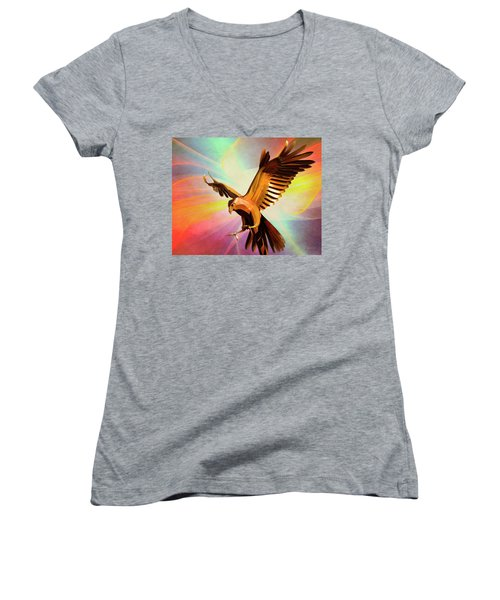 Metal Bird 1 Of 4 Women's V-Neck (Athletic Fit)