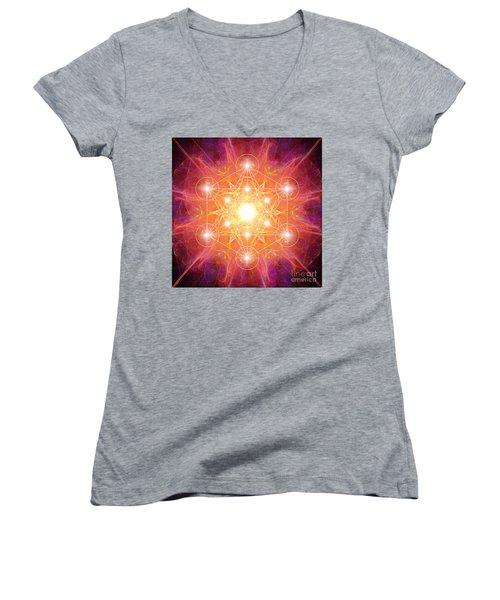 Metatron's Cube Shiny Women's V-Neck