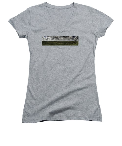 Mexican Jungle Panoramic Women's V-Neck T-Shirt (Junior Cut) by Jason Moynihan