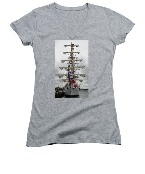 Mexican Navy Ship Women's V-Neck (Athletic Fit)