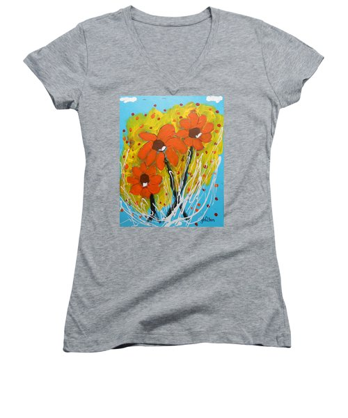 Mexican Sunflowers Flower Garden Women's V-Neck (Athletic Fit)