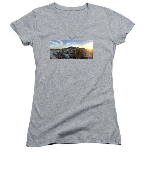Women's V-Neck T-Shirt (Junior Cut) featuring the photograph Mexico Memories 3 by Victor K