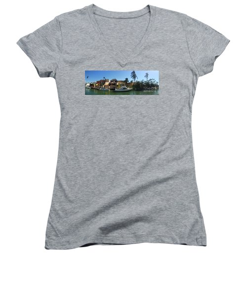 Women's V-Neck T-Shirt (Junior Cut) featuring the photograph Mexico Memories 5 by Victor K