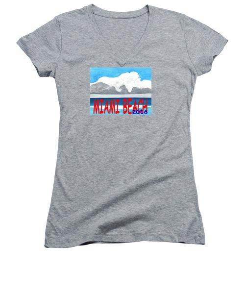 Miami Beach 2016 Women's V-Neck T-Shirt (Junior Cut) by Dick Sauer
