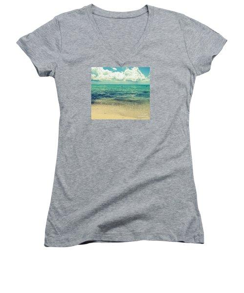 Women's V-Neck T-Shirt (Junior Cut) featuring the photograph Miami Beach 5 by France Laliberte