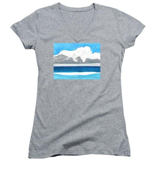 Miami Beach, Florida Women's V-Neck T-Shirt (Junior Cut) by Dick Sauer