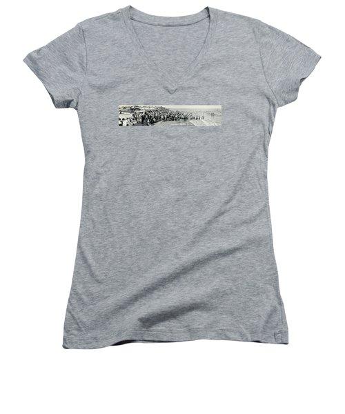 Miami Beach Sunbathers 1921 Women's V-Neck T-Shirt