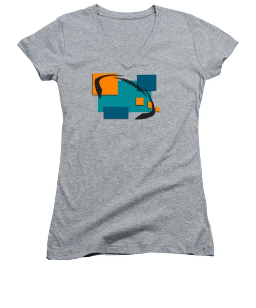Miami Dolphins Abstract Shirt Women's V-Neck T-Shirt (Junior Cut) by Joe Hamilton