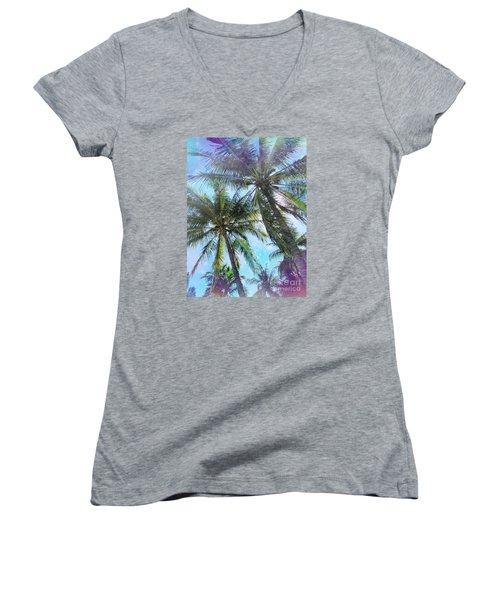 Women's V-Neck T-Shirt (Junior Cut) featuring the photograph Miami Palm Trees by France Laliberte