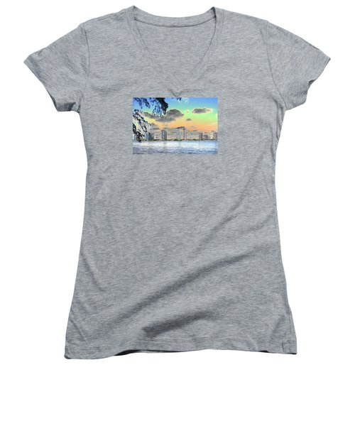 Miami Skyline Abstract Women's V-Neck T-Shirt (Junior Cut) by Christiane Schulze Art And Photography