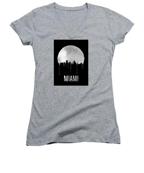 Miami Skyline Black Women's V-Neck (Athletic Fit)