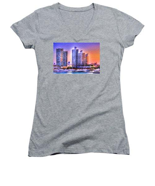 Women's V-Neck T-Shirt (Junior Cut) featuring the photograph Miami Skyline Sunrise by Shelley Neff